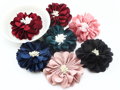 5pcs Gorgeous Burned Eage Satin Fabric Flower with Stamen 50mm  Hair Acc