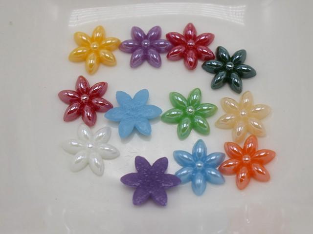 200 Mixed Color 6-Petal Flower Flatback Ceramic Cabochon 10mm Tiny Glass Tile