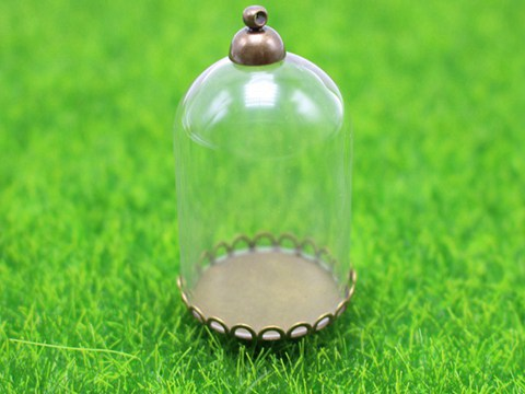 DIY Globe Glass Bottle Pendant 30mm with Bronze Top Memory Locket Wide Mouth Ope