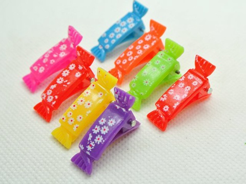 50 Mixed Colour Plastic Floral Candy Alligator Hair Clips Barrettes DIY 28mm