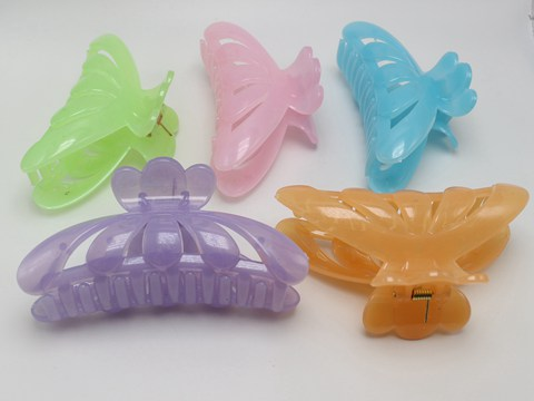 5 pcs Large Jelly Tone Color Plastic Hair Claw Clamp Clips 115mm Lady Women
