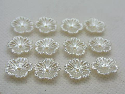1000 Pure Acrylique Blanc Pearl Flower Bead Cap 12 mm à coudre Bow Center Mariage